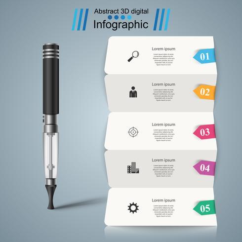 Geschäftsinfografik. Zigarettenrauch-Symbol. vektor