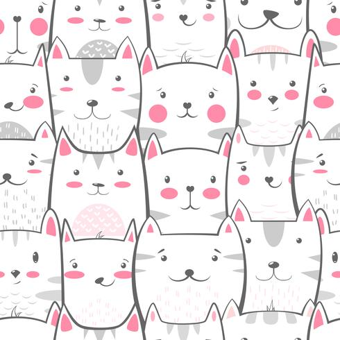 Katt, kattunge - sött, roligt mönster. vektor