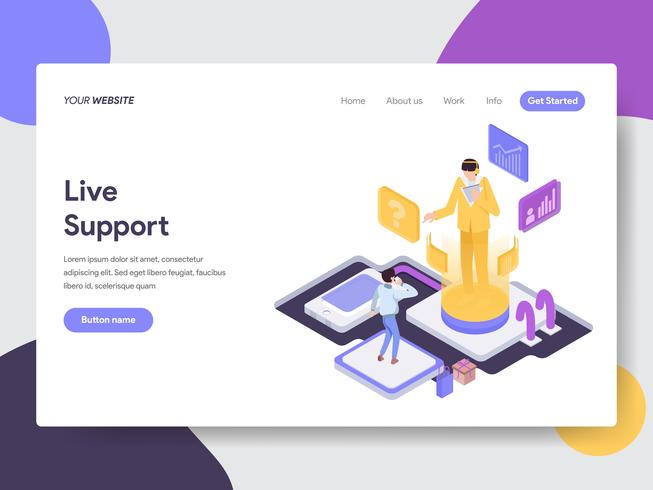 Målsida mall för Live Support Illustration Concept. Isometrisk plattformkoncept för webbdesign för webbplats och mobilwebbplats. Vektorns illustration vektor