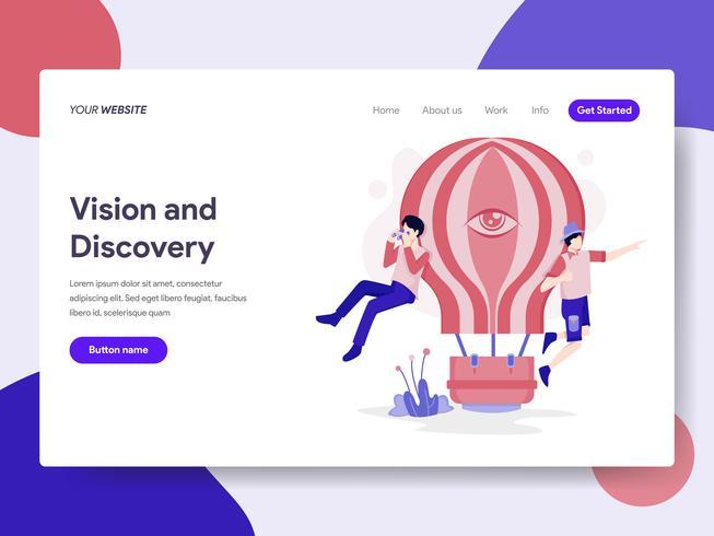 Målsida mall för Vision och Discovery Illustration Concept. Isometrisk plattformkoncept för webbdesign för webbplats och mobilwebbplats. Vektorns illustration vektor