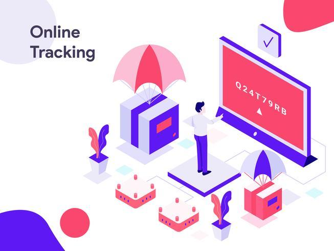Online-Tracking-isometrische Abbildung. Moderne flache Designart für Website und bewegliche Website. Vektorillustration vektor