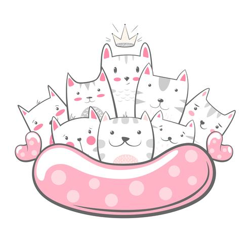 Söt, rolig - katt. kitty karaktärer vektor