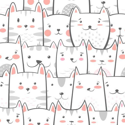 Katze, Miezekatze - süßes, lustiges Muster. vektor