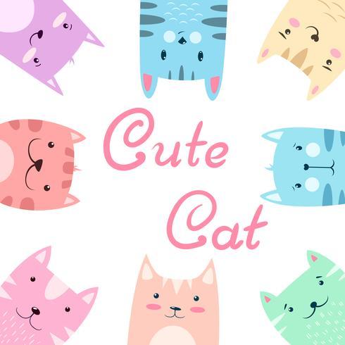 Gullig söt uppsättning katt, kattillustration. vektor