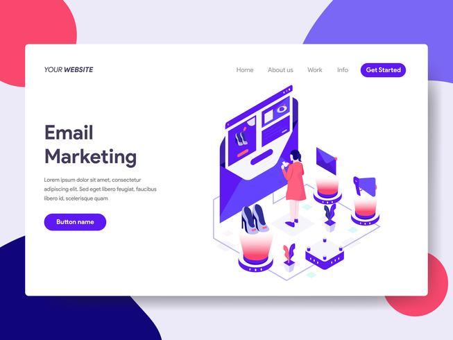 Målsida mall för Email Marketing Illustration Concept. Isometrisk plattformkoncept för webbdesign för webbplats och mobilwebbplats. Vektorns illustration vektor