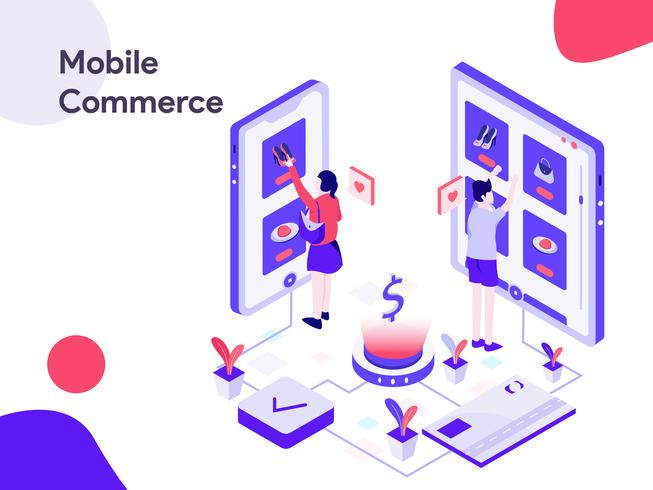 Mobile Commerce isometrische Abbildung. Moderne flache Designart für Website und bewegliche Website. Vektorillustration vektor