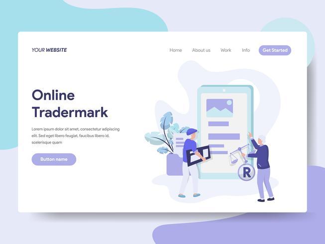 Landing-Page-Vorlage für Online-Copyright- und Trademark-Illustrations-Konzept. Isometrisches flaches Konzept des Entwurfes des Webseitendesigns für Website und bewegliche Website. Vektorillustration vektor