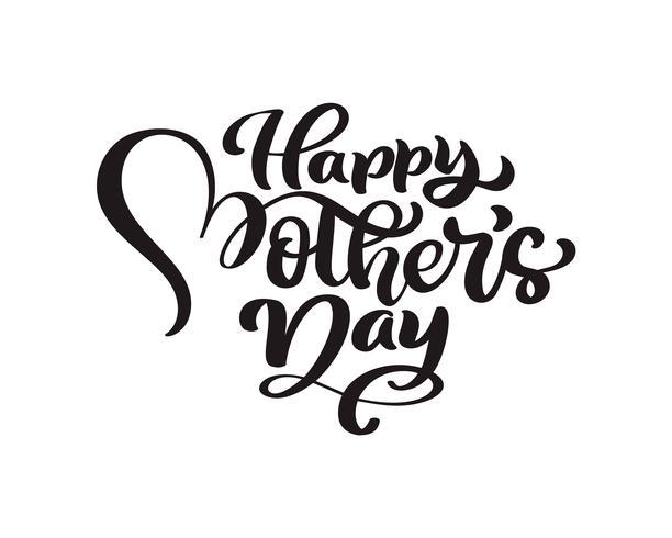 Glad mors dag handskriven bokstäver svart vektor kalligrafi text. Modern vintage bokstäver frasen. Bästa mamma någonsin illustration