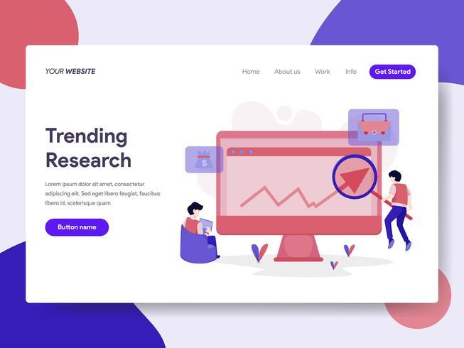 Målsida mall för Trending Keyword Research Illustration Concept. Isometrisk plattformkoncept för webbdesign för webbplats och mobilwebbplats. Vektorns illustration vektor