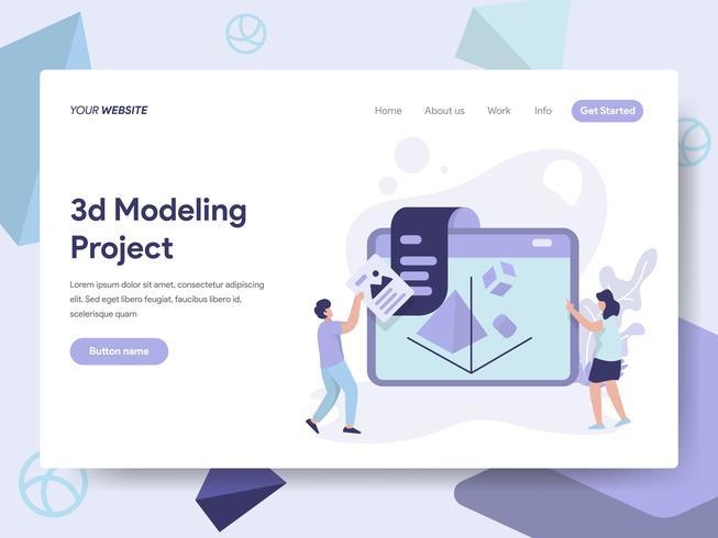 Målsida mall för 3D Printing Modeling Illustration Concept. Isometrisk plattformkoncept för webbdesign för webbplats och mobilwebbplats. Vektorns illustration vektor