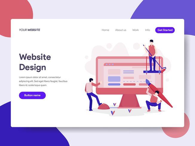 Målsida mall för webbdesigns koncept. Isometrisk plattformkoncept för webbdesign för webbplats och mobilwebbplats. Vektorns illustration vektor