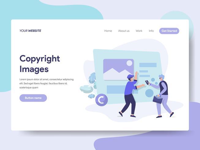 Målsida mall av upphovsrättsbilder Bilder Concept. Isometrisk plattformkoncept för webbdesign för webbplats och mobilwebbplats. Vektorns illustration vektor