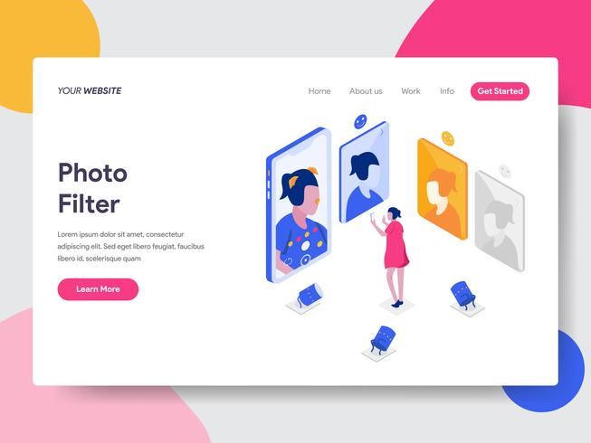 Målsida mall för fotofilter Isometric Illustration Concept. Isometrisk plattformkoncept för webbdesign för webbplats och mobilwebbplats. Vektorns illustration vektor
