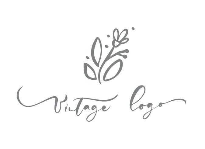 Kalligraphischer Text des Weinleselogos. Vektor modische skandinavische Blumenhand gezeichnete Schönheit.