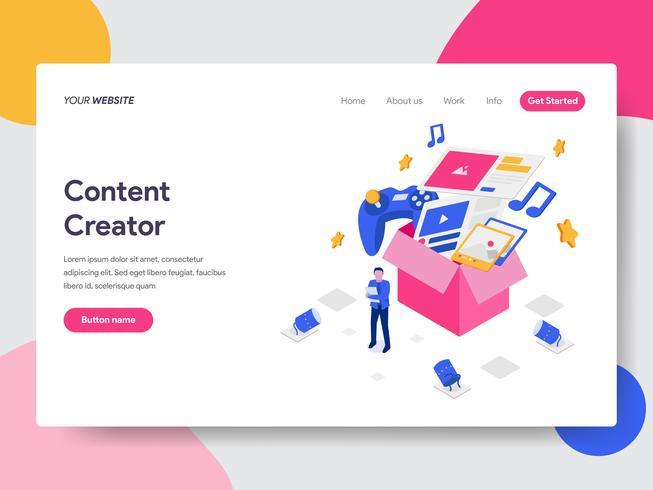 Målsida mall för innehålls Creator Illustration Concept. Isometrisk plattformkoncept för webbdesign för webbplats och mobilwebbplats. Vektorns illustration vektor