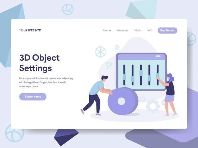 Målsida mall för 3D Objekt Inställningar Illustration Concept. Isometrisk plattformkoncept för webbdesign för webbplats och mobilwebbplats. Vektorns illustration vektor