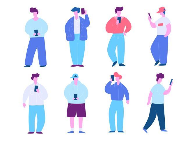 Man Med Mobiltelefon Illustration Set. Modernt plattdesignkoncept av webbdesign för webbplats och mobilwebbplats. Vektorns illustration vektor