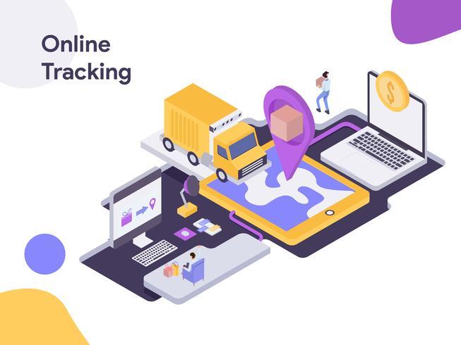 Online Delivery Tracking Isometric Illustration. Modernt plattdesign stil för webbplats och mobil website.Vector illustration vektor