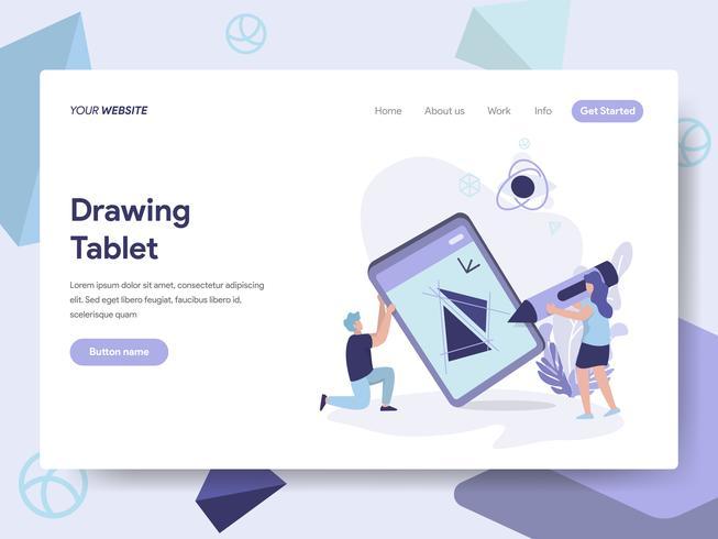 Målsida mall Ritning Tablet Illustration Concept. Isometrisk plattformkoncept för webbdesign för webbplats och mobilwebbplats. Vektorns illustration vektor