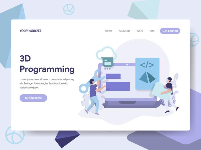 Målsida mall för 3D Programmering Illustration Concept. Isometrisk plattformkoncept för webbdesign för webbplats och mobilwebbplats. Vektorns illustration vektor