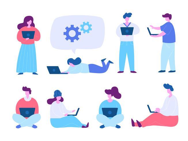 Människor som använder bärbar dator och dator medan sittande och stående bildsätt. Modernt plattdesignkoncept av webbdesign för webbplats och mobilwebbplats. Vektorns illustration vektor