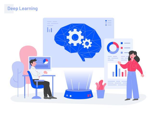 Deep Learning Illustration Concept. Modernt plattdesignkoncept av webbdesign för webbplats och mobilwebbplats. Vektorns illustration vektor