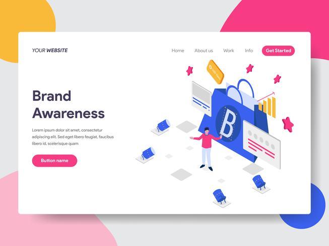 Målsida mall för varumärkesmedvetenhetskoncept. Isometrisk plattformkoncept för webbdesign för webbplats och mobilwebbplats. Vektorns illustration vektor