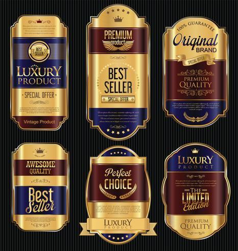 Luxus Premium Goldene Abzeichen und Etiketten vektor