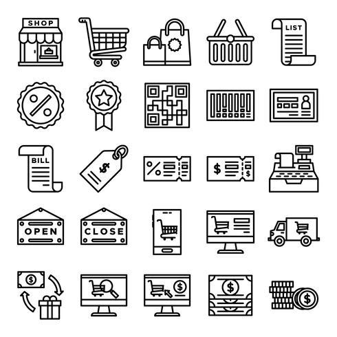 Retail ikoner packa vektor