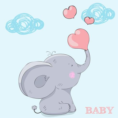 Söt liten baby elefant vektor