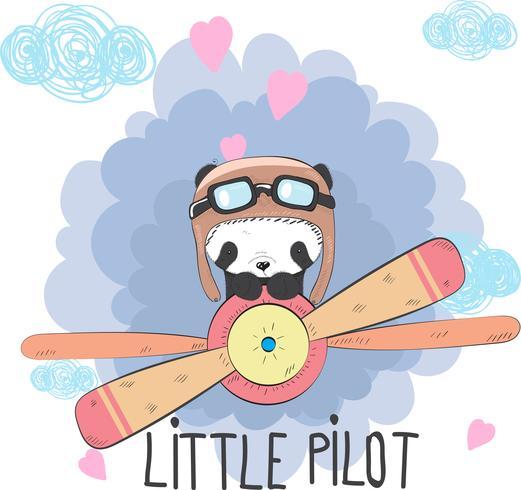 Netter Baby Panda in einem Flugzeug vektor