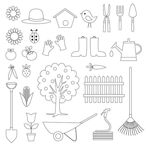 Gartenarbeit Digital Briefmarken Clipart vektor