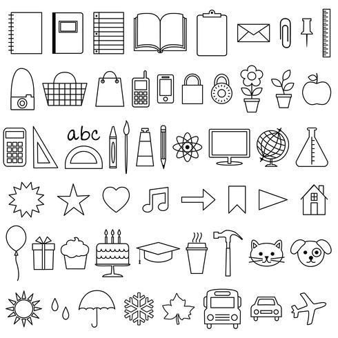 Planner ikoner digitala frimärken vektor