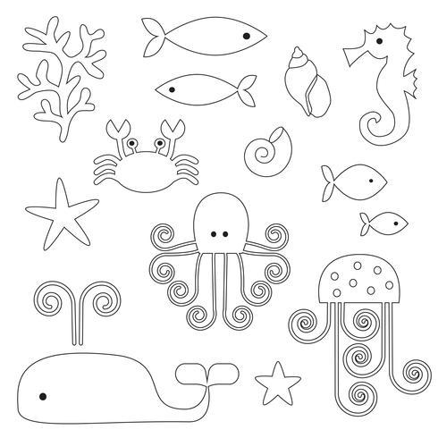 Sea Life Digital Briefmarken Clipart vektor