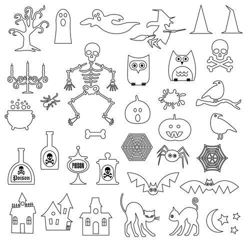 Halloween Digital Frimärken Clipart vektor