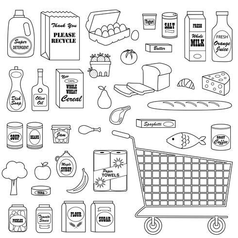 Livsmedelsbutik Digital Frimärken Clipart vektor