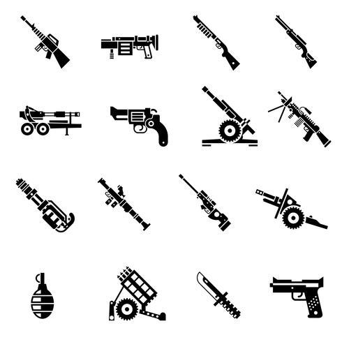 Vapen Ikoner Svart vektor