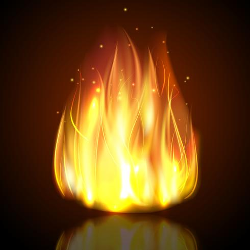 Feuer auf dunklem Hintergrund vektor