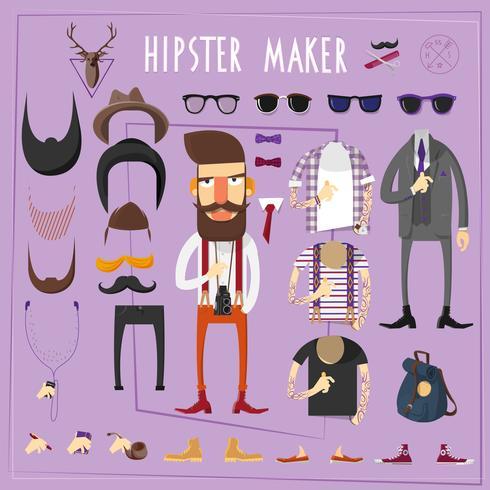 Hipster Master kreativen Konstruktorsatz vektor