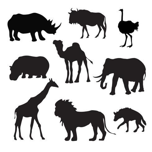 Vilda afrikanska djur svart vektor