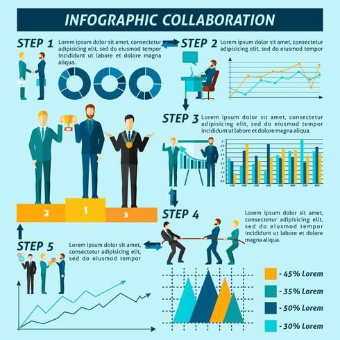 Samarbete Infographics Set vektor