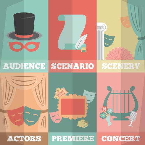 Theaterplakat-Mini-Set vektor