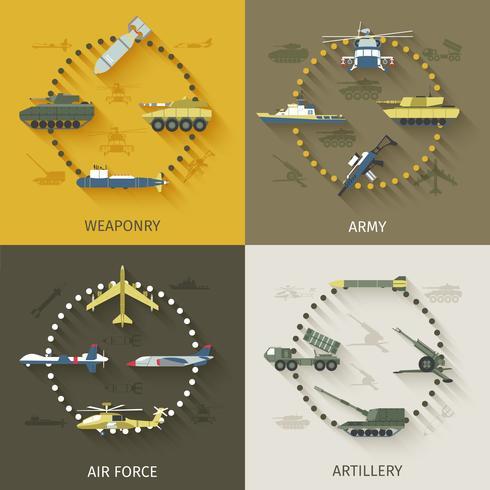armén platt uppsättning vektor