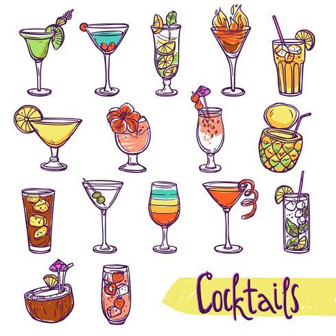 Cocktail skiss set vektor