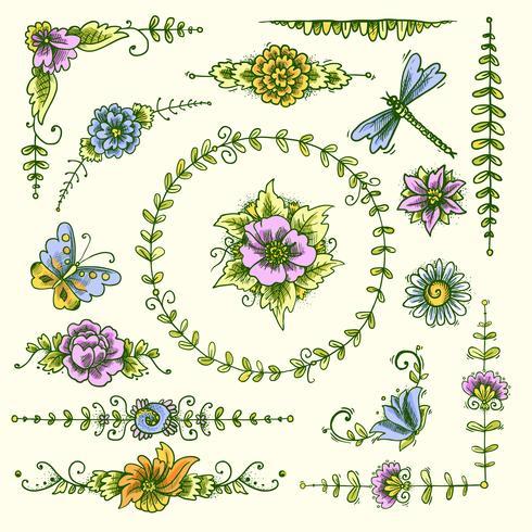 Vintage dekorative Elemente Farbe vektor