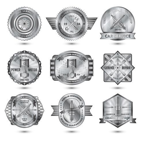 Reparatur-Werkstatt-Metallembleme eingestellt vektor
