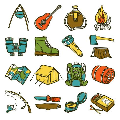 camping ikonuppsättning vektor