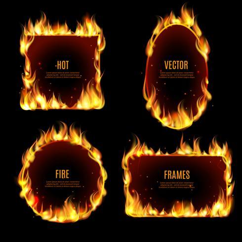 Heißer Feuerflammenrahmen auf dem schwarzen Hintergrund vektor