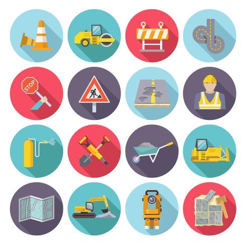 Straßenarbeiter flache Icons vektor