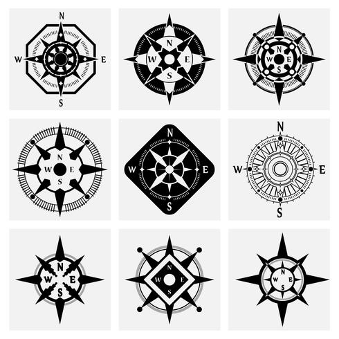 Kompass ikoner Set vektor